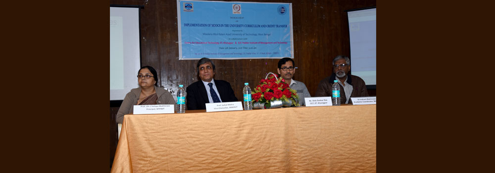 The dignitaries at Workshop on Implementation of Moocs in The University Curriculum and Credit Transfer